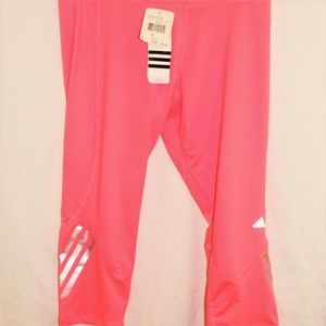 Adidas Capri pants running exercise dance pink NWT